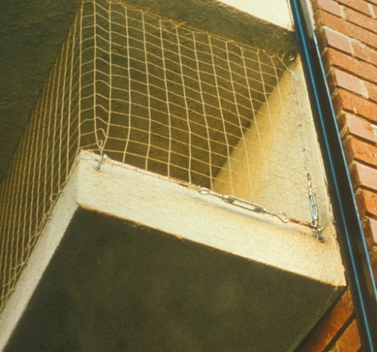 Figure 9. Nets are used to prevent birds from accessing a porch. Photo by Unknown.