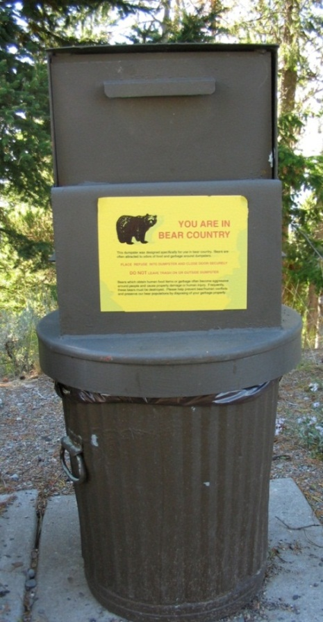 Figure 5. Bear-proof trash can. Photo by Stephen M. Vantassel.