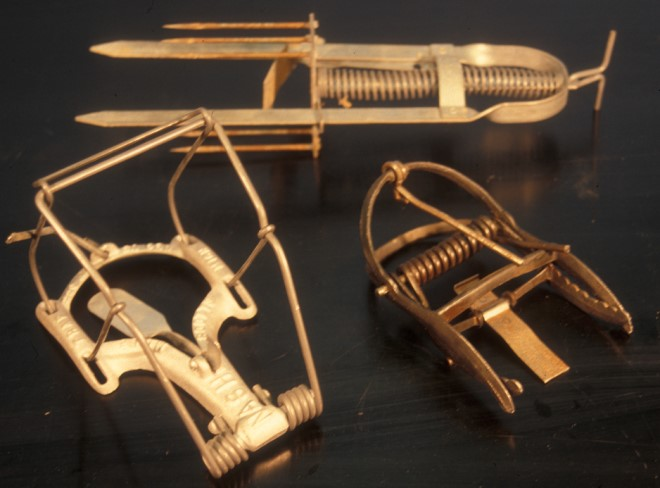Figure 5. Traps for moles, listed in clockwise from the top: Victor® (harpoon), Out O' Sight® (scissor-jawed) and Nash® (choker loop). Photo by UNL.